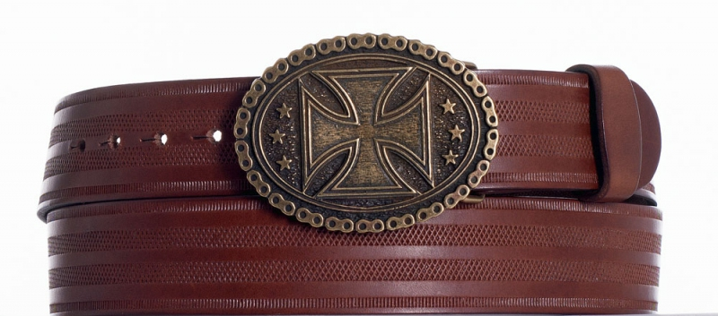 Kožené opasky - Kožený opasek kříž pr