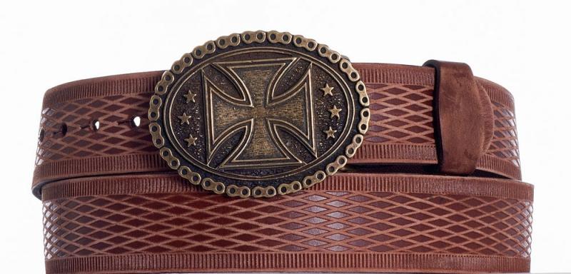 Kožené opasky - Kožený opasek kříž vrb