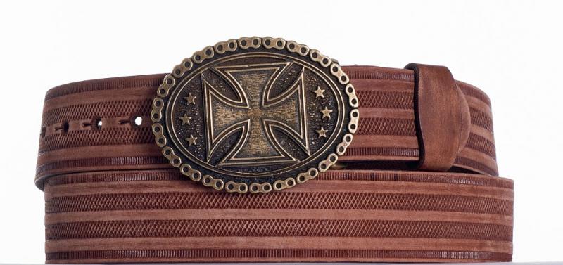Kožené opasky - Kožený opasek kříž prb