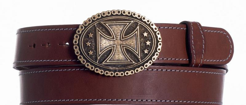 Kožené opasky - Kožený opasek kříž ob