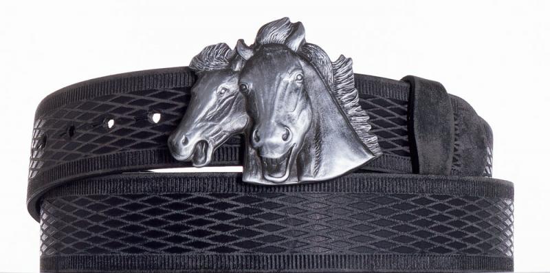 Kožené opasky - Kožený pásek Koně vrb