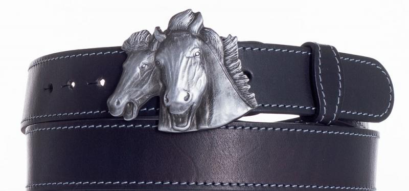 Kožené opasky - Kožený pásek Koně obš