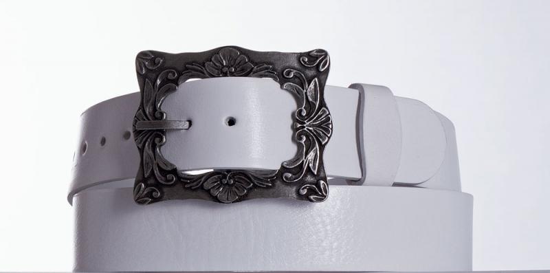 Kožené opasky - Bílý kožený pásek 335