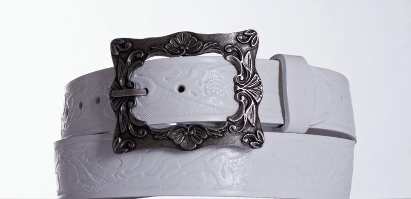 Kožené opasky - Bílý kožený pásek 335 vz.