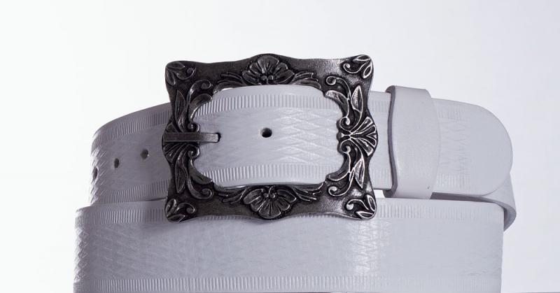 Kožené opasky - Bílý kožený pásek 335 vr