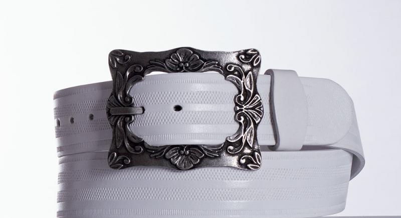 Kožené opasky - Bílý kožený pásek 335 pr