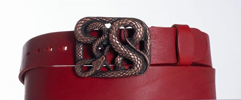 Kožené opasky - Červený kožený pásek Had