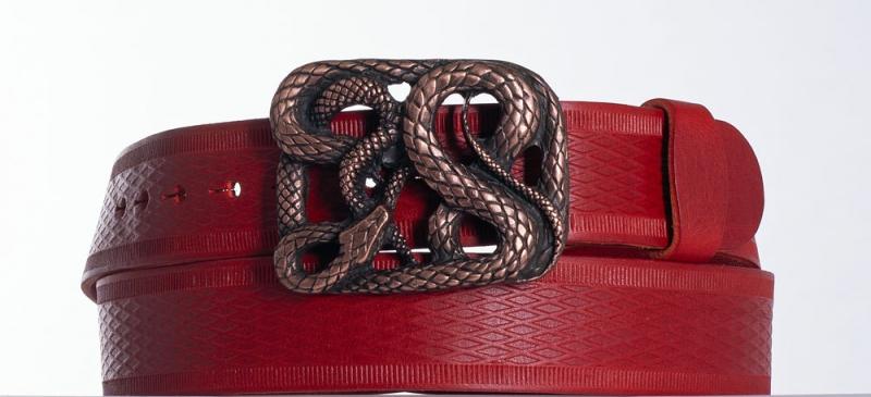 Kožené opasky - Červený kožený pásek Had vr
