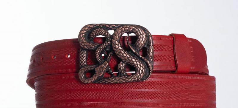 Kožené opasky - Červený kožený pásek Had pr