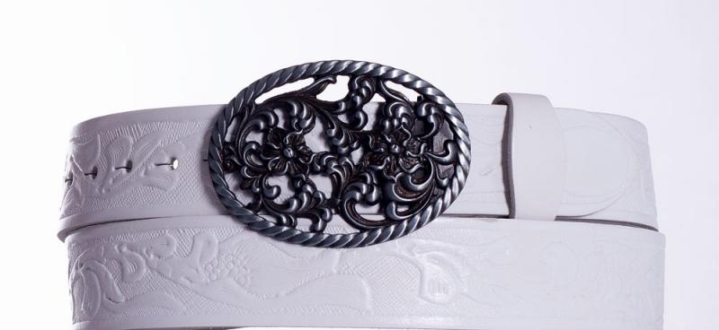 Kožené opasky - Bílý kožený pásek Růže vz