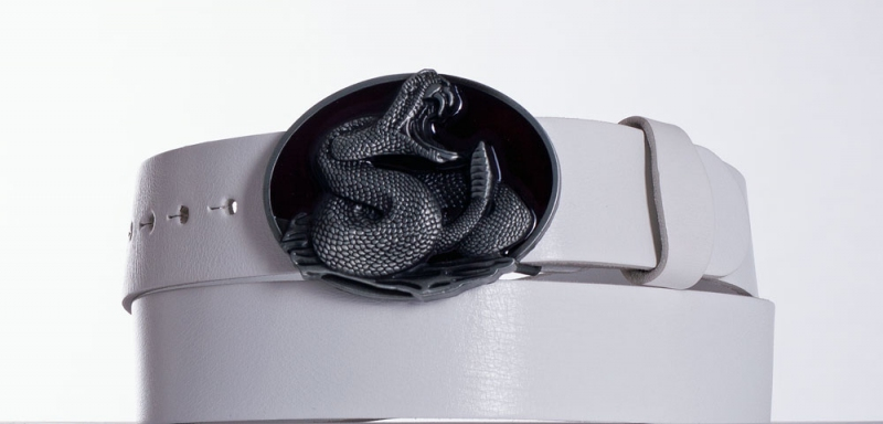 Kožené opasky - Bílý kožený opasek Kobra