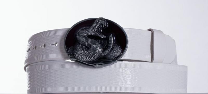Kožené opasky - Bílý kožený opasek Kobra vr.
