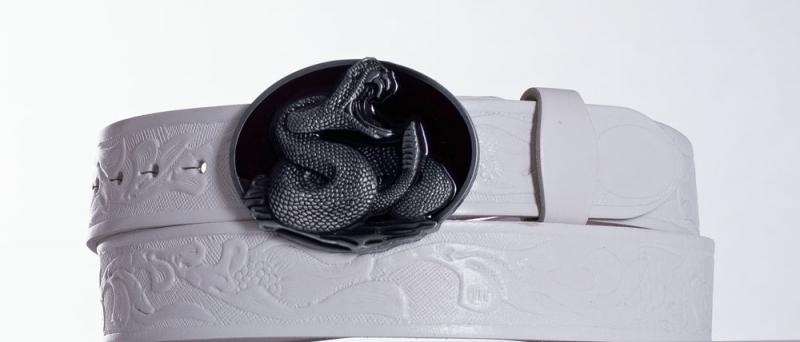 Kožené opasky - Bílý kožený opasek Kobra vz.