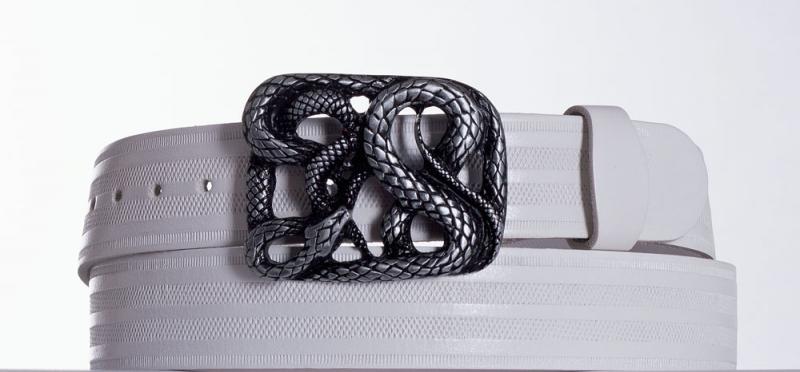 Kožené opasky - Dámský bílý opasek Had pr.