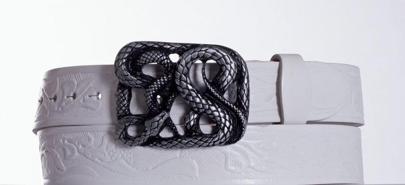 Kožené opasky - Dámský bílý opasek Had vz.