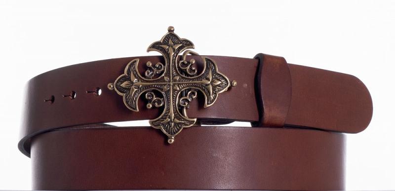 Kožené opasky - Kožený hnědý opasek kříž