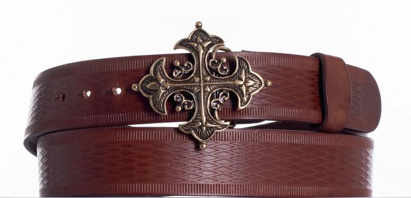 Kožené opasky - Kožený hnědý opasek kříž vr