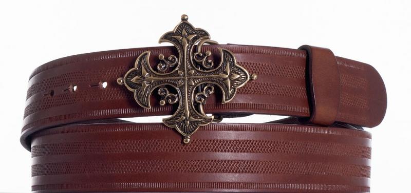 Kožené opasky - Kožený hnědý opasek kříž pr