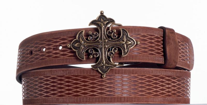 Kožené opasky - Kožený hnědý opasek kříž vrb