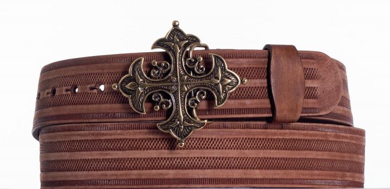 Kožené opasky - Kožený hnědý opasek kříž prb