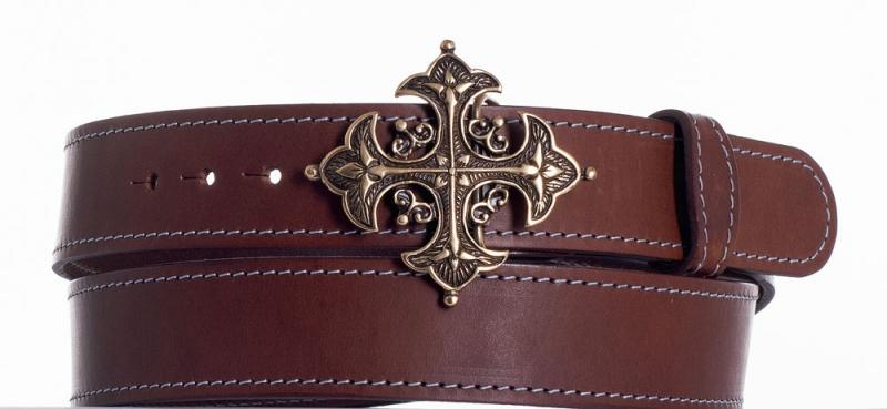 Kožené opasky - Kožený hnědý opasek kříž ob