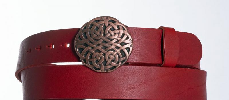 Kožené opasky - Červený kožený pásek Uzel