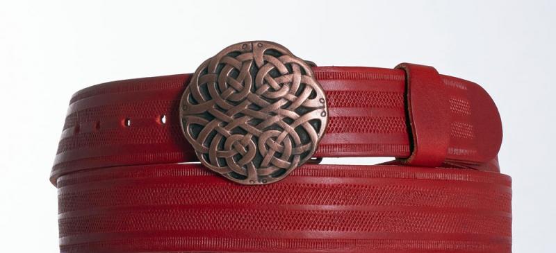 Kožené opasky - Červený kožený pásek Uzel pr