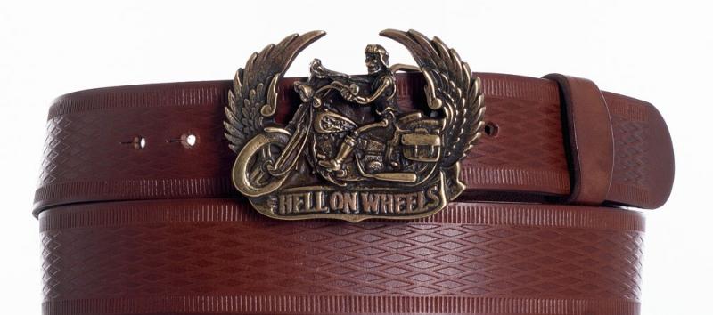 Kožené opasky - Kožený hnědý opasek Motorkář vr