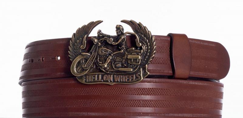 Kožené opasky - Kožený hnědý opasek Motorkář pr