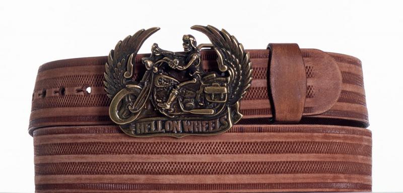 Kožené opasky - Kožený hnědý opasek Motorkář prb