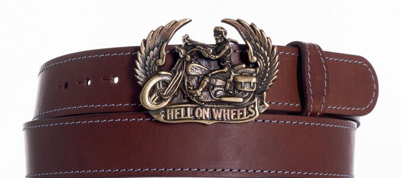 Kožené opasky - Kožený hnědý opasek Motorkář ob
