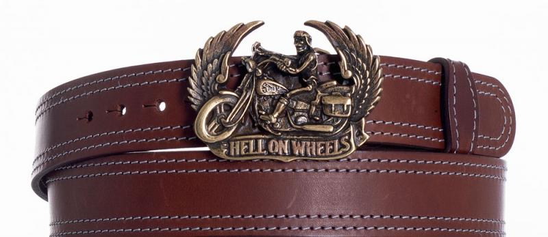 Kožené opasky - Kožený hnědý opasek Motorkář ob2