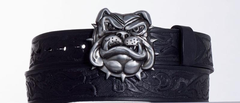 Kožené opasky - Značkový kožený opasek Buldok vzor