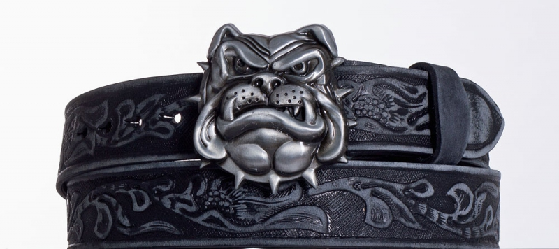Kožené opasky - Značkový kožený opasek Buldok vzor broušený
