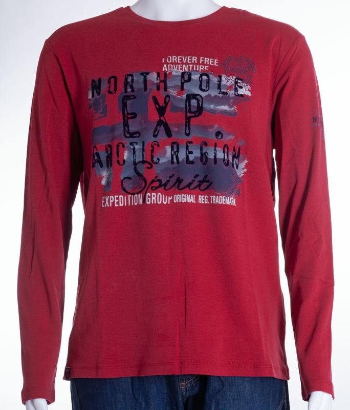 Pánská móda - Pánské triko červené s dlouhým rukávem