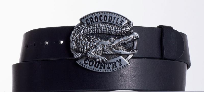 Kožené opasky - Černý kožený opasek Krokodýl
