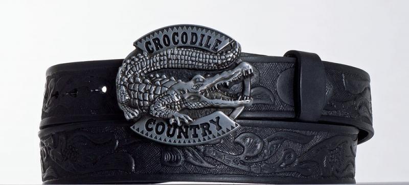 Kožené opasky - Černý kožený opasek Krokodýl vz.