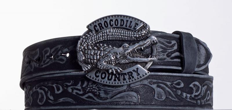 Kožené opasky - Černý kožený opasek Krokodýl vzb.