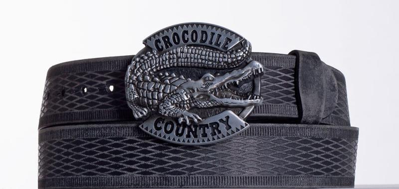 Kožené opasky - Černý kožený opasek Krokodýl vrb.