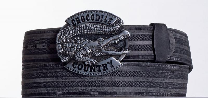 Kožené opasky - Černý kožený opasek Krokodýl prb.