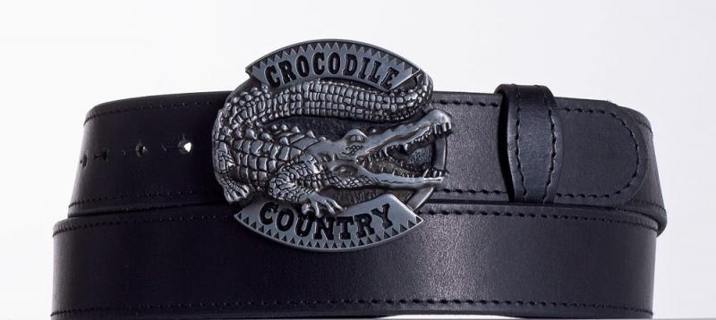 Kožené opasky - Černý kožený opasek Krokodýl obč.
