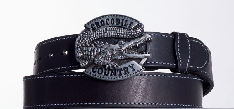 Kožené opasky - Černý kožený opasek Krokodýl obš.