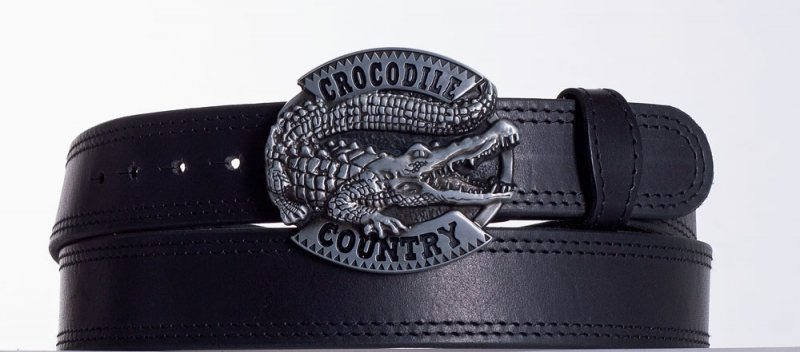 Kožené opasky - Černý kožený opasek Krokodýl ob2č.