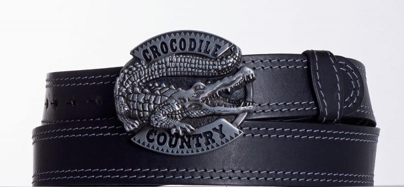 Kožené opasky - Černý kožený opasek Krokodýl ob2š.