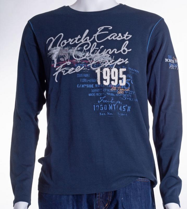 Pánská móda - Pánské triko modré s dlouhým rukávem