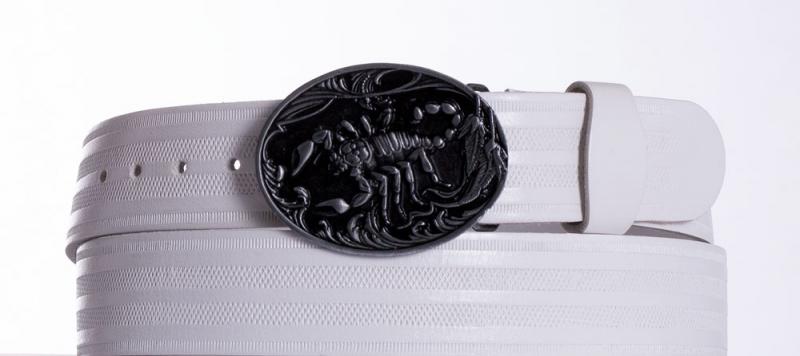 Kožené opasky - Bílý kožený pásek Štír pr.