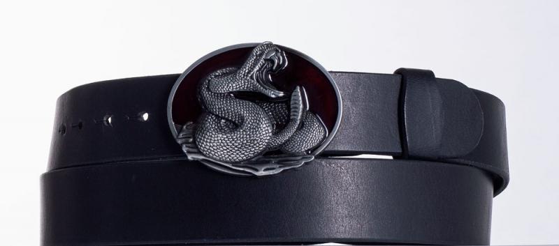 Kožené opasky - Černý kožený opasek Had