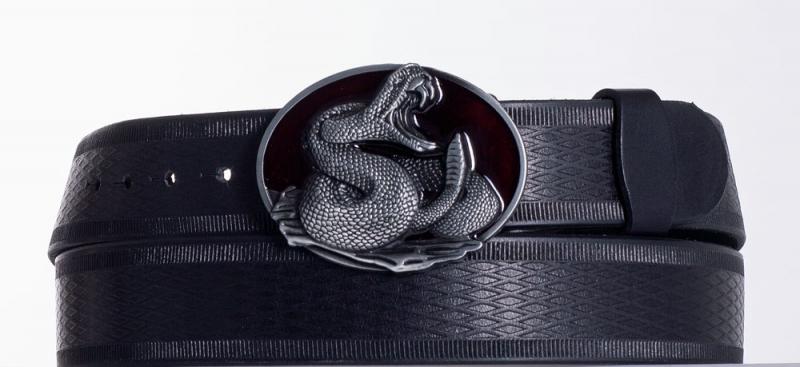 Kožené opasky - Černý kožený opasek Had vr.