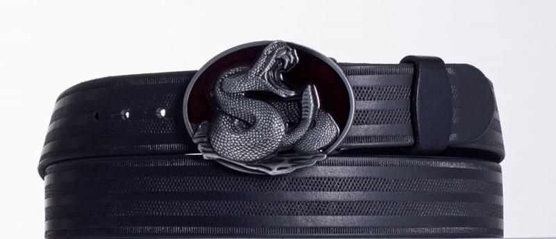 Kožené opasky - Černý kožený opasek Had pr.