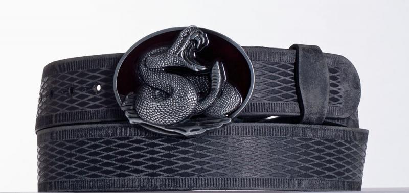 Kožené opasky - Černý kožený opasek Had vrb.
